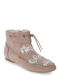 House of Harlow 1960 - Brown Taupe Monty Beaded Booties - Lyst