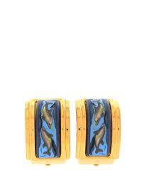 Hermès - Blue Gold-Tone Enamel Earrings - Vintage - Lyst