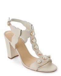 Marc Fisher Multicolor Bone Kaylee Embellished Block Heel Sandals