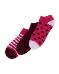 Ellen Tracy - Pink 3-Pack Dot & Stripe No Show Cosy Socks - Lyst