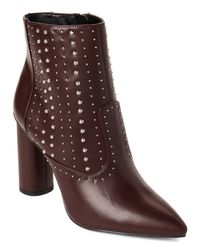 BCBGeneration - Brown Hollis Studded Faux-leather Booties Purple - Lyst