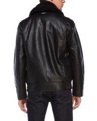 Marc New York - Black Faux Fur-Trimmed Amherst Aviator Jacket for Men - Lyst