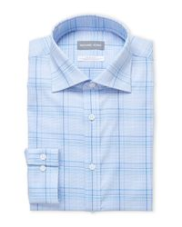 Michael Kors - Blue Plaid Slim Fit Stretch Dress Shirt for Men - Lyst
