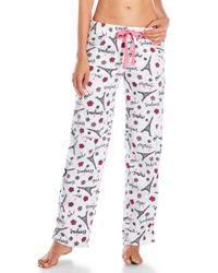 Rene Rofe - White Fleece Drawstring Pajama Pants - Lyst