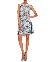 Waverly Grey Gray Printed Keyhole Sleeveless Dress