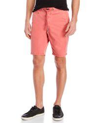 Superdry Red Drawstring Flat Front Shorts for men