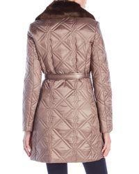 Via Spiga - Multicolor Faux Fur Trim Belted Coat - Lyst