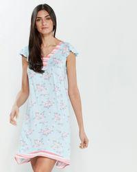Ellen Tracy Blue Printed Nightgown