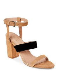 Raye - Tan & Black Lana Block Heel Sandals - Lyst
