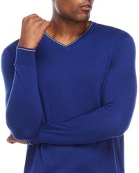 Forte - Blue V-neck Silk Sweater for Men - Lyst