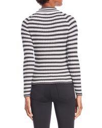 Cliche White Mock Neck Ribbed Sweater