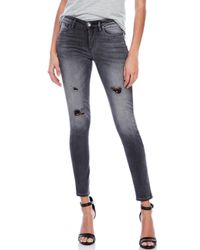 True Religion - Gray Halle Mid-Rise Skinny Jeans - Lyst