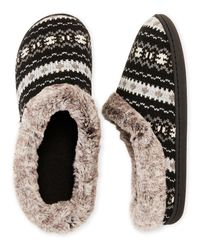 Dearfoams Black Faux Fur Trim Knit Hoodback Slippers