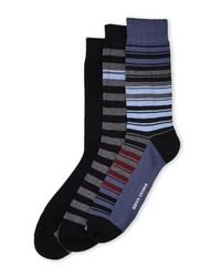 Ben Sherman - Black 3-pack Rugby Mixed Stripe Socks for Men - Lyst