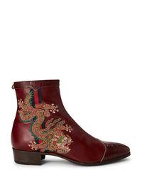 Gucci Multicolor Bordeaux Dragon Leather Ankle Boots for men