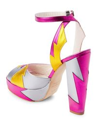 Terry De Havilland - Pink & Yellow Metallic Zia Platform Sandals - Lyst