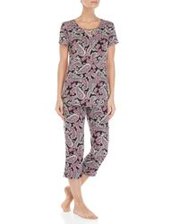 Ellen Tracy Black Two-piece Paisley Tee & Capri Pant Pajama Set
