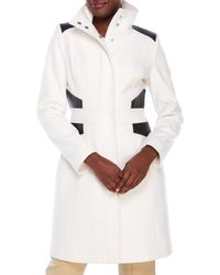 Via Spiga - White Wool-Blend Coat With Faux Leather Panels - Lyst