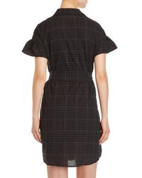 Lush - Black Plaid Belted Shirtdress - Lyst