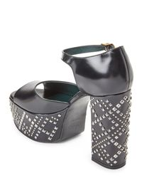 Mulberry - Black Studded Leather Platform Block Heel Sandals - Lyst