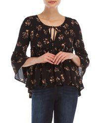 Olivaceous - Black Floral Ruffle Blouse - Lyst