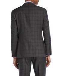 Bruno Magli - Gray Two-piece Grey & Burgundy Plaid Wool Suit for Men - Lyst