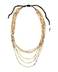 House of Harlow 1960 - Metallic Gold-Tone Beaded 6-Strand Necklace - Lyst