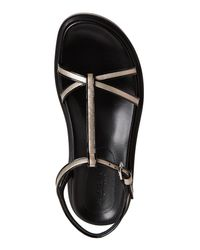 Marni - Platinum & Black Fussbett Leather Sandals - Lyst