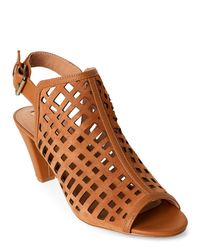 Tahari | Brown Maple Evalyn Laser-Cut Peep Toe Slingback Booties | Lyst