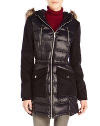 BCBGeneration - Blue Mixed Media Hooded Coat With Faux Fur Trim - Lyst