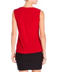 Tahari - Red Petite Sleeveless Top - Lyst