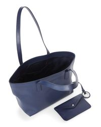 Jil Sander Navy Blue Saffiano Leather Small Tote