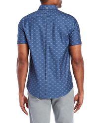 Ben Sherman - Blue Short Sleeve Stretch Clip Derby Woven Shirt for Men - Lyst