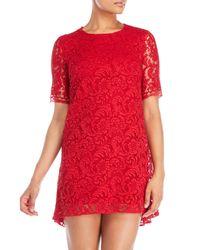 Adam Lippes - Red Back Pleat Short Sleeve Dress - Lyst