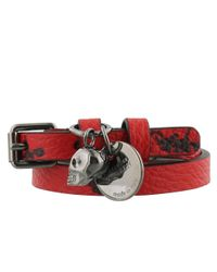 Alexander McQueen - Red Skeleton Double Wrap Leather Bracelet - Lyst