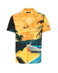 Balmain Yellow Beach Print Short-sleeve Shirt for men