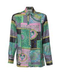 Versace Green Printed Shirt for men