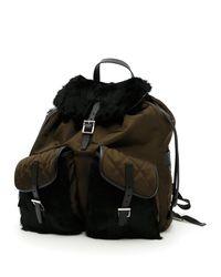 edfba3f64c26 Lyst - Prada Rabbit Fur Backpack in Brown