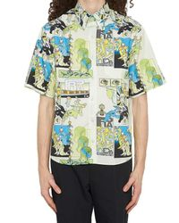 Prada - Blue Multicolor Comic Shirt - Lyst
