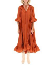 Lanvin Orange Long Dress With Ruffles