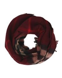 Burberry Red Check Cashmere Tassel Scarf for men