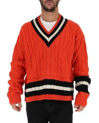 Maison Margiela Red Oversized Cable Knit Sweater for men