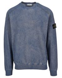 Stone Island Blue Logo Patch Crewneck Sweatshirt for men