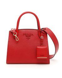 Prada Red Bibliotheque Tote Bag