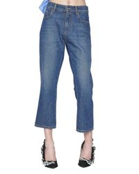 MSGM - Blue Cropped Jeans - Lyst