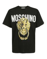 Moschino Black Lion Logo Printed Crewneck T-shirt for men