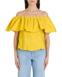 Pinko Yellow Off The Shoulders Ruffled Blouse