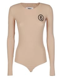 MM6 by Maison Martin Margiela Natural Logo Print Bodysuit