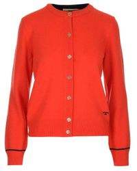 Tory Burch Logo Embroidered Buttoned Cardigan
