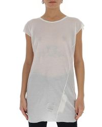 Rick Owens Drkshdw White Longline T-shirt
